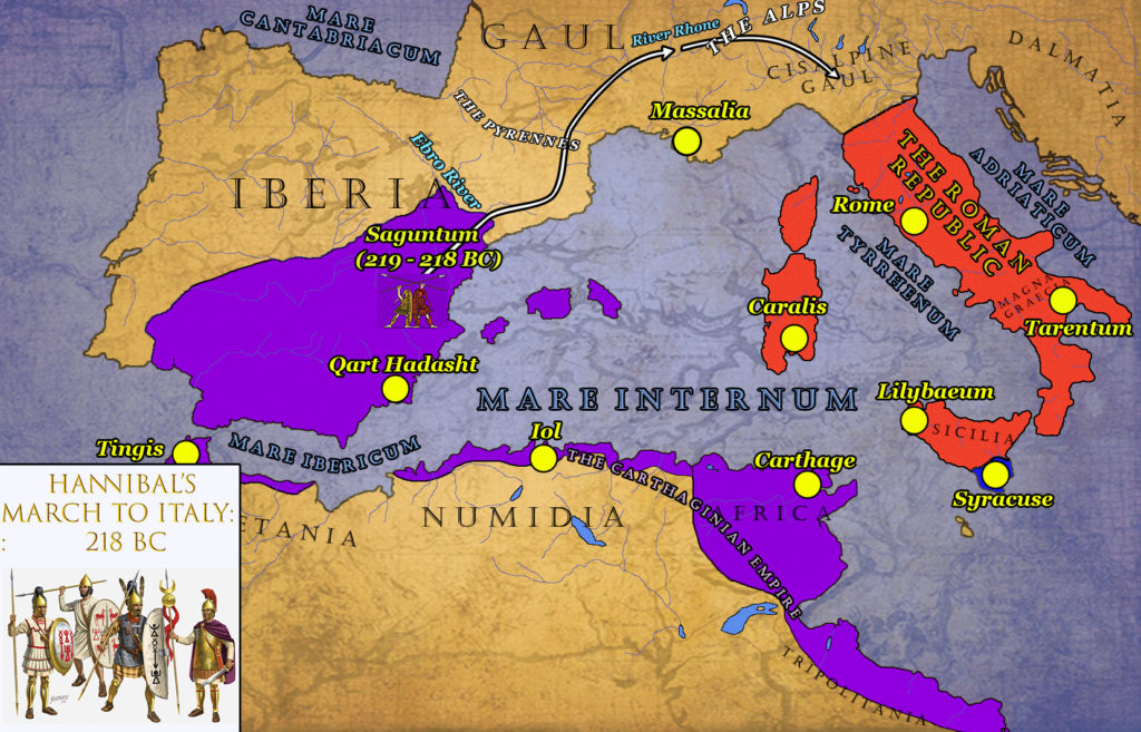 hannibals march to italy 218 bc